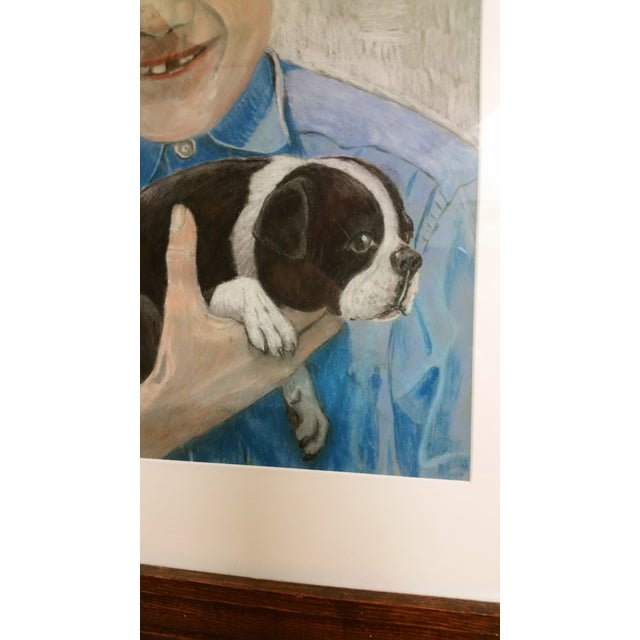 Image of Mid-Century Outsider Boy & Dog Pastel Painting