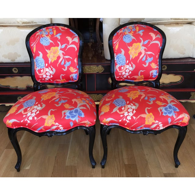 Black Lacquer Louis XV Style Chairs - A Pair - Image 2 of 5