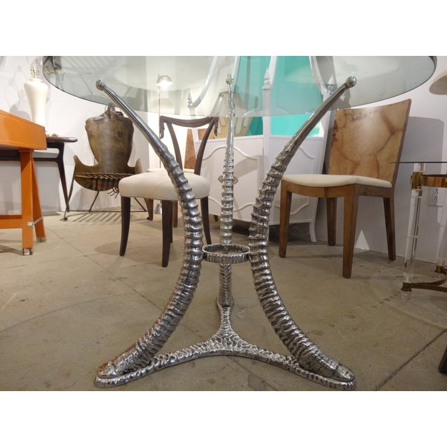 "Arthur Court ""Tusk"" Aluminum Dining Table - Image 4 of 6"