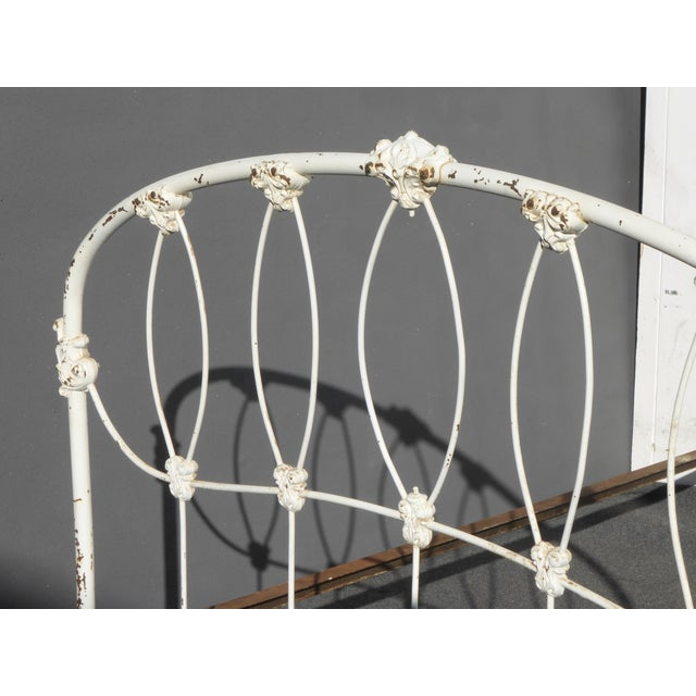 Antique French Country Full Iron Bed Frame Farmhouse Chic Headboard - Image 8 of 11