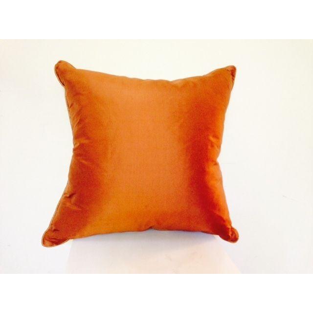 Two Toned Orange Silk Pillow - Image 2 of 5
