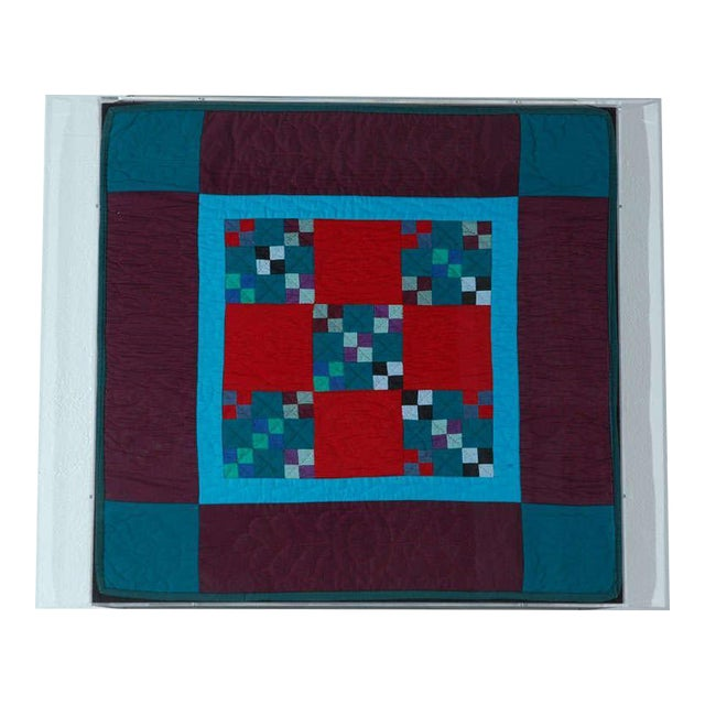 Rare 1940s Lancaster, Pa. Amish Postage Stamp Chain Doll Quilt - Image 1 of 8