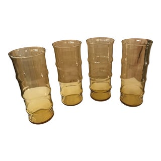 Tall Ribbed Amber Tumblers - Set of 4