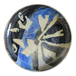 Abstract Mid-Century Stoneware Plate