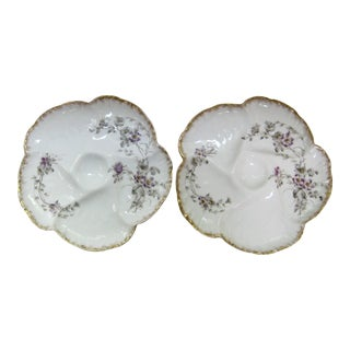 Pair of Hand Decorated Floral Motif Oyster Plates by Limoges