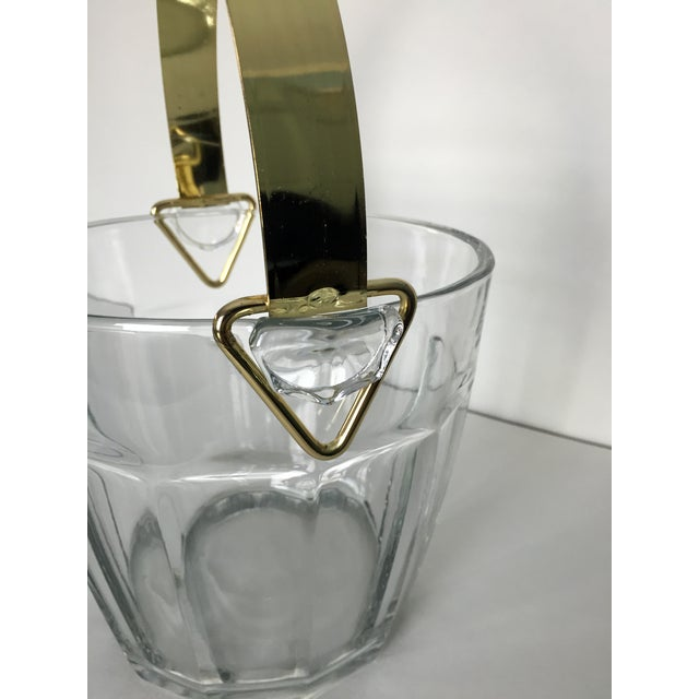 Image of Vintage Glass & Brass Ice Bucket