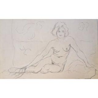 Vintage Drawing Seated Nude 1930
