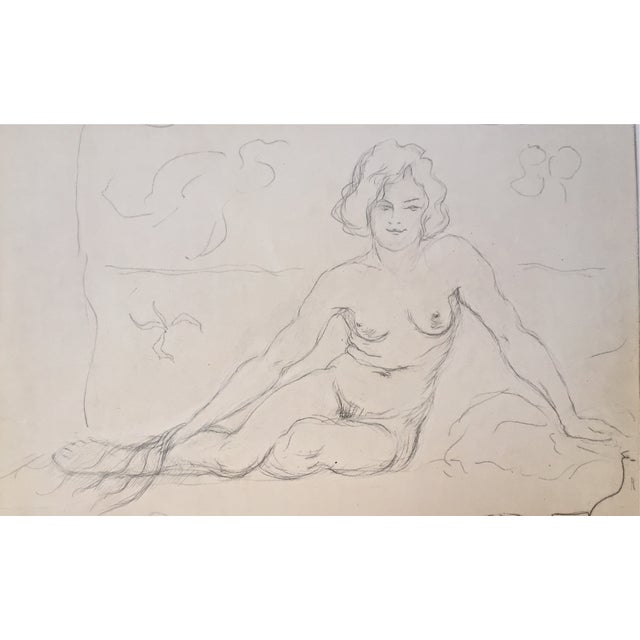 Vintage Drawing Seated Nude 1930 - Image 1 of 4