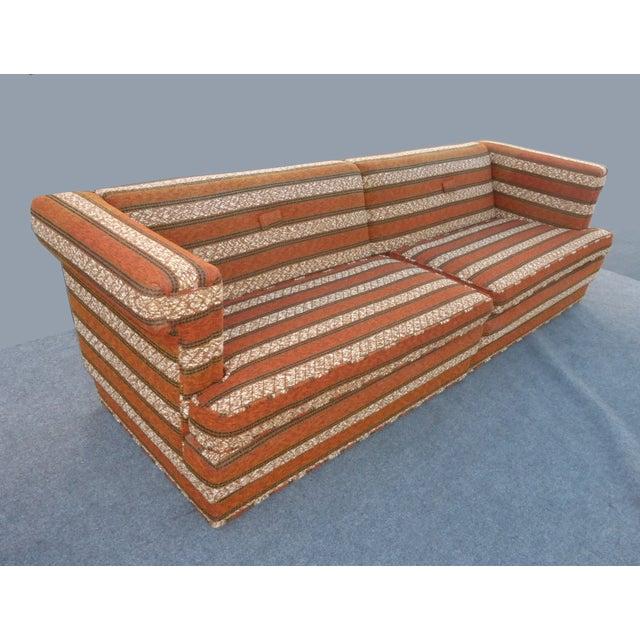 Mid-Century Modern Orange Stripped Sofa - Image 2 of 10