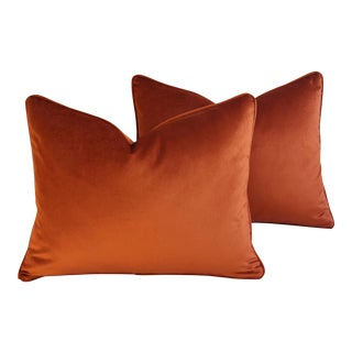 Autumn Rusty Copper Velvet Feather/Down Pillows - Pair