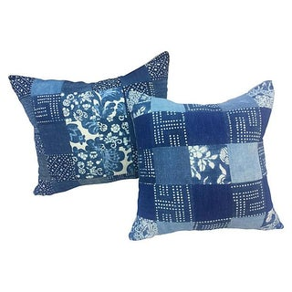 Antique Indigo Patchwork Pillows - A Pair