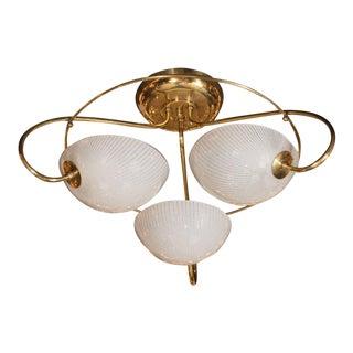 Mid-Century Modern Brass and Textured Glass Three-Arm Flush Mount Chandelier
