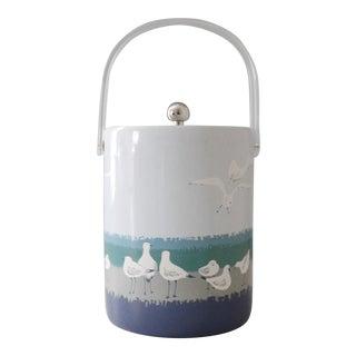 Vintage Oleg Cassini Vinyl & Lucite Ice Bucket Blue Seagulls Beach Round
