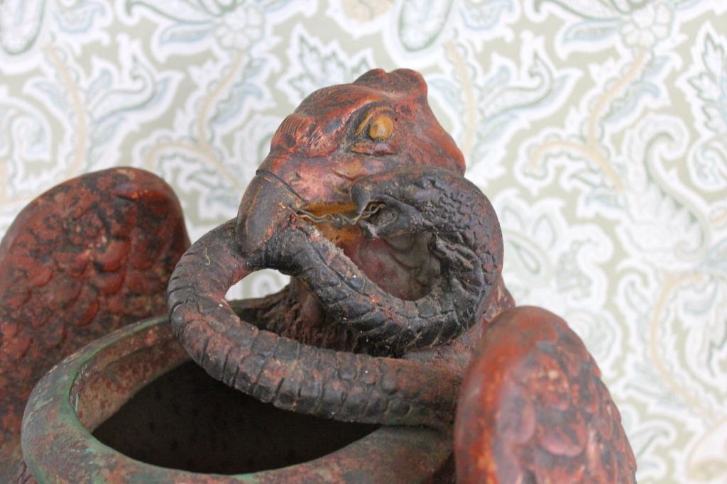 Ceramic Snake Basket With Eagle Design Chairish
