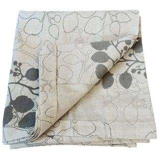 Gray Leaf Print Linen