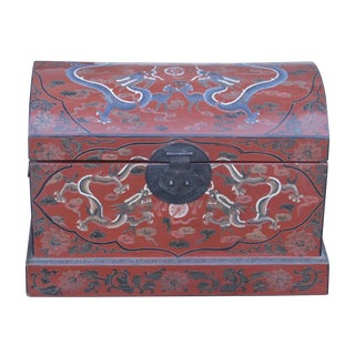 Red Dragon Lacquered Dome Top Trunk