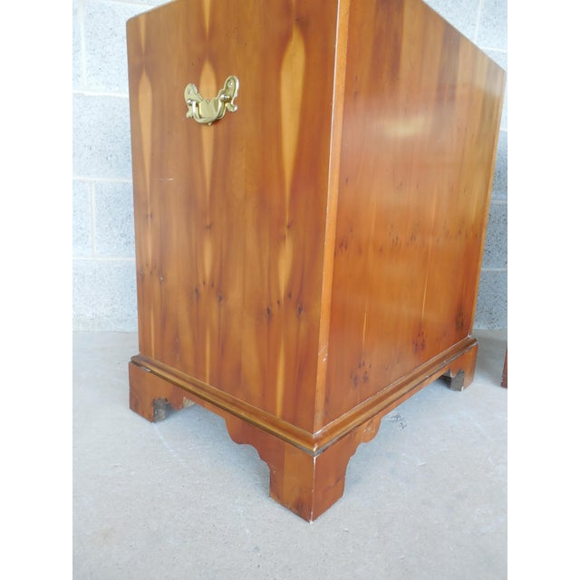 Image of Baker Furniture Chippendale Style Olive Wood Night Stands - A Pair