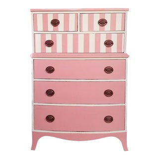 Pink & White Striped Vintage Dresser
