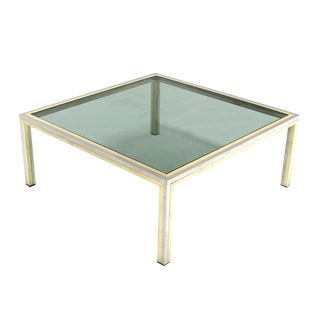 Square Brass, Chrome and Glass Coffee Table by Romeo Rega