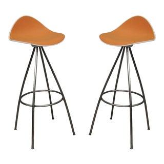 Onda Orange Rubber & Steel Jesús Gasca Stua Modern Barstools - A Pair