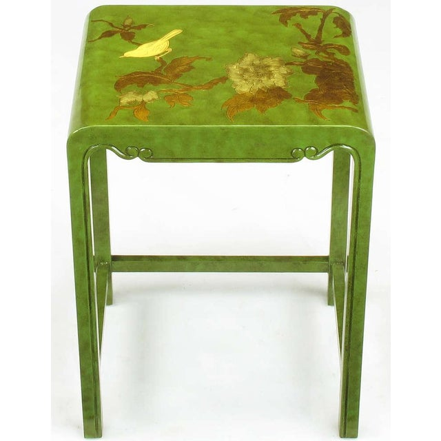 Three Embossed & Parcel Gilt Rich Jade Green Nesting Tables - Image 8 of 10