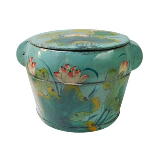 Chinese Round Lotus Flower Lidded Container