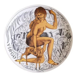 Piero Fornasetti Virgo Zodiac Porcelain Plate Made for Corisia in 1969.