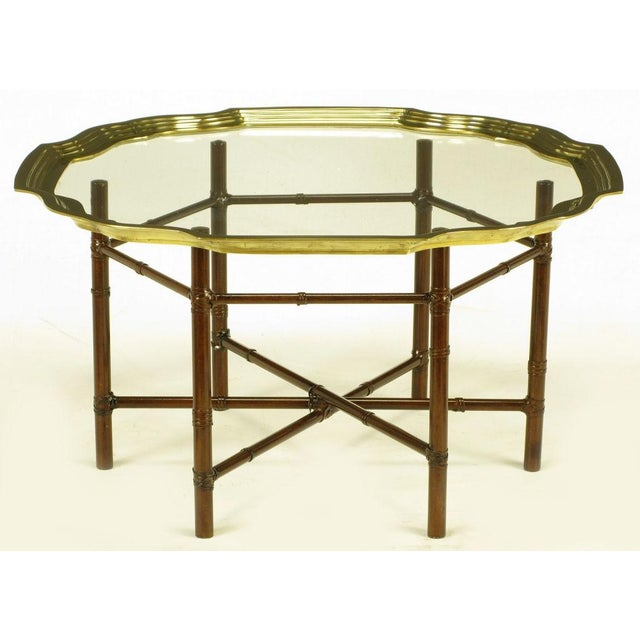 Iron Bamboo-Form Coffee Table With Brass Rimmed Glass Tray - Image 6 of 7