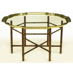 Image of Iron Bamboo-Form Coffee Table With Brass Rimmed Glass Tray