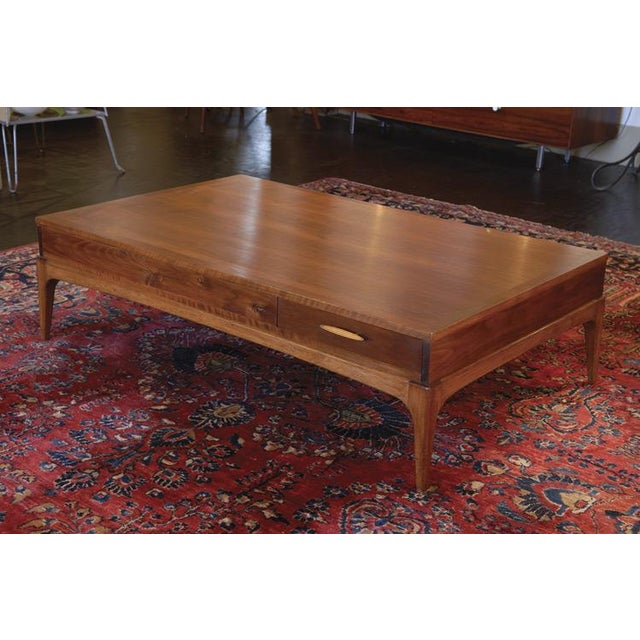 Mid Century Lane Walnut Brass Coffee Table