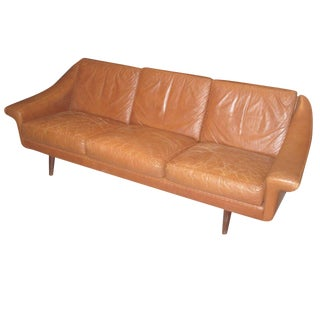 Danish Modern Brown Leather Sofa