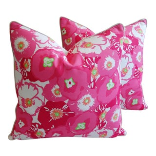 "24"" X 24"" Lilly Pulitzer-Inspired/Style Pink Begonia Blossom Pillows - Pair"