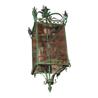 """Pair of Large Bronze Lanterns w/Etched Glass""""Fabulous Light Fixtures"""""""