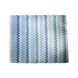 "New Blue Chevron Kilim Carpet - 8'3"" X 9'11"""