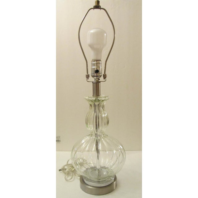 Image of Glass and Brushed Silver Lamp