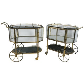 Hollywood Regency Bronze & Glass Serving Carts - A Pair