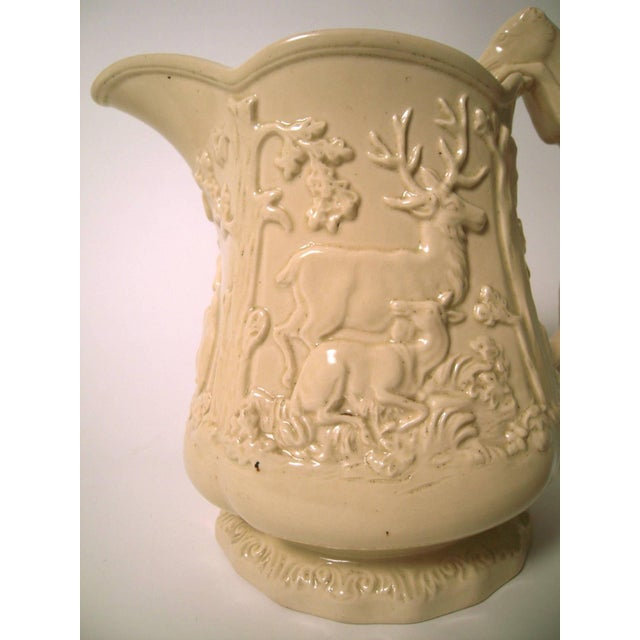 Image of Large 19th Century American Stag and Doe Pitcher with Hound Dog Handle