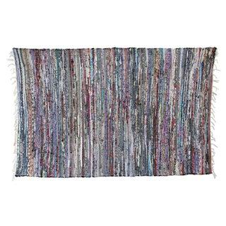 Contemporary Striped Sari Rug - 3′4″ × 5′