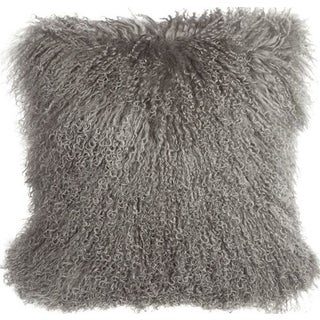 Mongolian Sheepskin Gray 18x18 Pillow