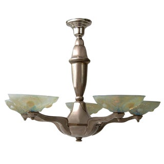 Pressed Vaseline Glass Art Deco Style Chandelier