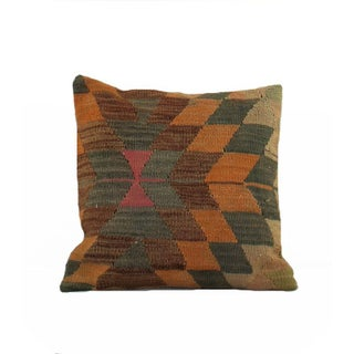 Vintage Burnt Orange and Blue Kilim Pillow
