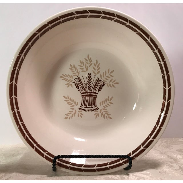 Image of Mid-Century Modern Cream & Brown Wheat Serving Bowl