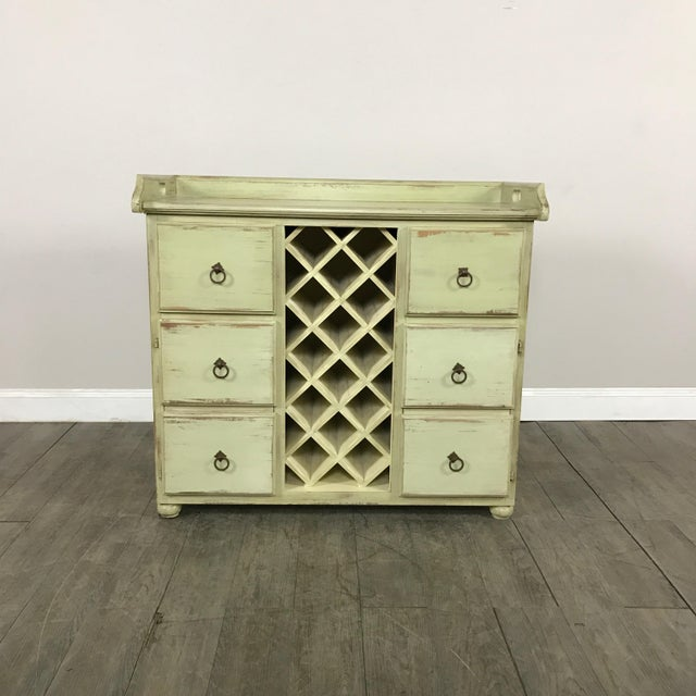 Crate & Barrel Rustic Wine Rack Cabinet - Image 2 of 11
