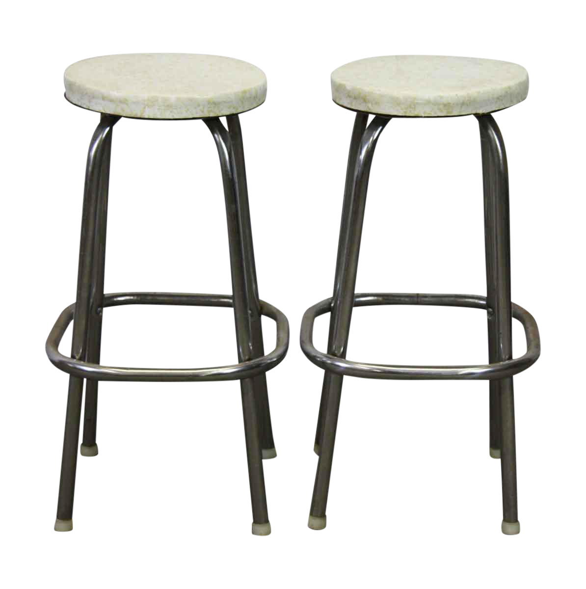 Round White Vinyl Metal Stools - A Pair  sc 1 st  Chairish : hammered metal stool - islam-shia.org