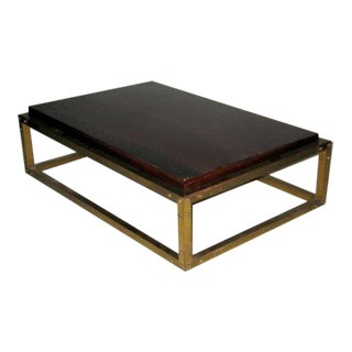 French Mid-Century Studded Brass Cocktail Table