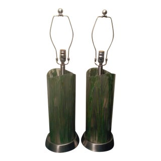 Vintage Lucite Bamboo Leaf Lamps - A Pair