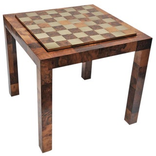 Paul Evans Patchwork Burl and Polished Brass Game Table