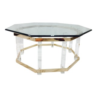 Vintage Lucite Brass & Glass Coffee Table
