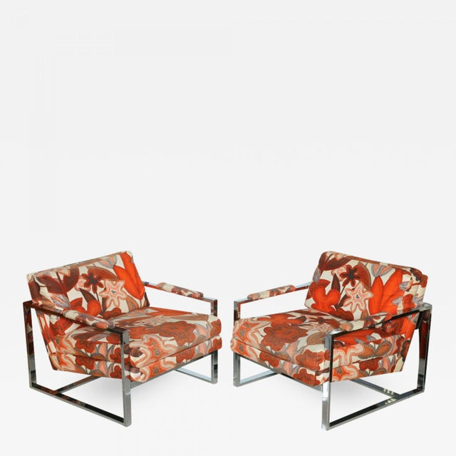 A Pair of Milo Baughman Polished Chrome Club Chairs - Image 2 of 9