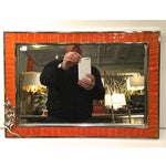 Image of Orange Leather Embossed Alligator Tray W/Mirror